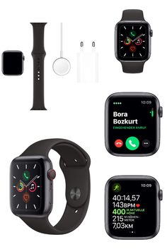 Apple Watch Series 5 (GPS + Cellular, 44 mm) Aluminiumgehäuse Space Grau - Sportarmband Schwarz Arm Workout With Bands, Sport Armband, Aluminium, Apple Watch, Smart Watch, Fitness, Fashion, Grey, Black