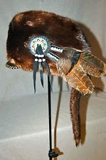 Mountain Man OTTER fur Hat FCF Rendezvous POW WOW BUCKSKINNER Regalia Tanned