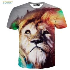 Casual short-sleeve abstract animal 3D print T-shirt for Women/Men