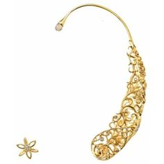 Runa Jewelry Lace Mismatched Yellow Gold Ear Cuff And Earring (3,750 CAD) ❤ liked on Polyvore featuring jewelry, earrings, yellow gold, lace earrings, gold ear cuff, gold earrings, gold fine jewelry and gold jewellery