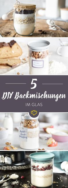 Geschenke aus der Küche: 5 Backmischungen im Glas Homemade baking mixes are not only great as a souvenir and gift from the kitchen for dear friends. Bottle open, contents out. Or to muffins. Mélanges Pour Cookies, Ma Baker, Diy Gifts For Friends, Kitchen Gifts, Food Gifts, Baking Ingredients, Diy Food, Homemade Gifts, Food Inspiration