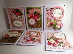 Some cards I made for Valentine's Day using Anna Griffin, Inc. stickers/paper.