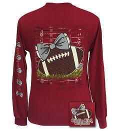 f5d9b25a597 Girlie Girl Originals Preppy Football Team Big Bow Long Sleeve Cardinal T  Shirt (Diy Shirts For Football Games)