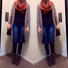 Fall outfit: cardigan: jeggings: scarf: booties