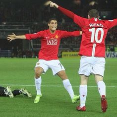 Wayne Rooney and Cristiano Ronaldo in his Man U days. Can't stand that club, but respects to these two players