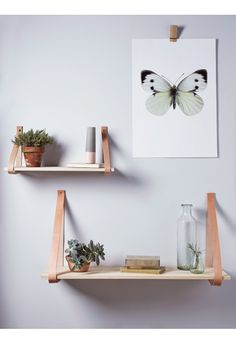 Wood and Leather Shelves - Furniture