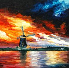 "Windmill, Holland — PALETTE KNIFE Oil Painting On Canvas By Leonid Afremov - Size: 24"" x 24"""