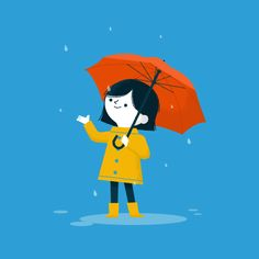 Rainy Days by Ben Aslett #illustration #art #rain #girl #umbrella #rainyday…