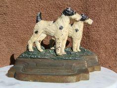 Vintage BRADLEY & HUBBARD Cast Iron Bookends Wire FOX TERRIER Dog | eBay