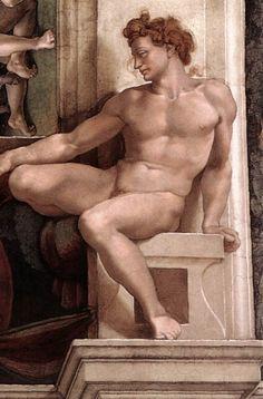 Michelangelo Sistine Chapel - Ignudo above Erythraean Sibyl - Gallery of Sistine Chapel ceiling - Wikipedia, the free encyclopedia