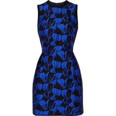 Mother of Pearl Sandler floral-print cotton and silk-blend mini dress ($285) ❤ liked on Polyvore featuring dresses, cobalt blue, blue pleated dress, blue fitted dress, blue dress, short blue dresses and fitted mini dress