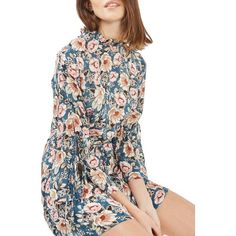 Women's Topshop Peony Print Tea Dress (£76) ❤ liked on Polyvore featuring dresses, blue multi, white tea party dress, long-sleeve floral dresses, white sleeve dress, garden party dresses and floral tea dress