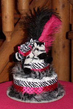 2 Tier Hot pink and Zebra Diaper Cake baby shower gift. $50.00, via Etsy.