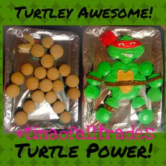 I couldn't find a tutorial on how to make this so I figure I would try it out & share how I made these Ninja Turtle Cupcake cake. Hope this helps! #turtleyawesomecupcakes #tmntcupcakes #turtlepowercupcakes