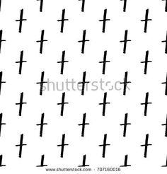 Vector hand drawn grunge seamless pattern with black Christian crosses.