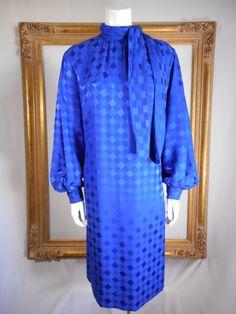 Vintage 1990's Michael Novarese Blue Dress  Size by thebazarhome