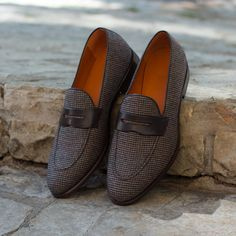 db4f0cd3ee9 Loafers in Tweed Sartorial with Dark Brown Box Calf Leather Mask - Robert  August Apparel