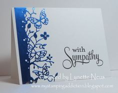 """I kind of feel like I """"repeat"""" some cards, but I'm going to share with you, anyway. I wanted to use this butterfly die from Memory Box aga. Making Greeting Cards, Greeting Cards Handmade, With Sympathy Cards, Some Cards, Get Well Cards, Butterfly Cards, Flower Cards, Paper Butterflies, Memory Box Cards"""