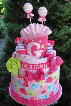 Baby Girl 3 Tier Diaper Cake with Elephant Themed Blanket www.facebook.com/DiaperCakesbyDiana
