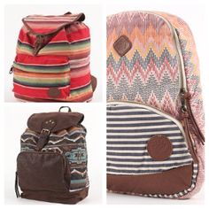 Beautiful backpacks from my favorite store, PacSun. I want the one on the right so bad.