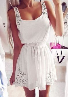Weiß Einfacher Hohle-heraus Kordelzug Schulterträgerkleid