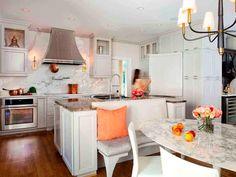 Modern White Kitchen Banquette Dining