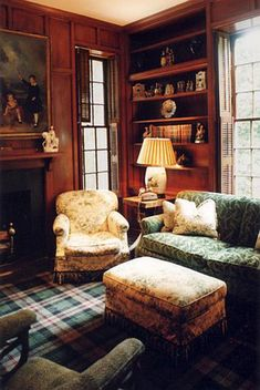 Spitzmiller & Norris -- Buckhead Renovation -- Library with built-in bookcases, paneling & tartan rug
