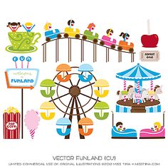 Clip Art Amusement Park Clipart illustrations drawings amusement parks clipart teacup ride funland park clipart