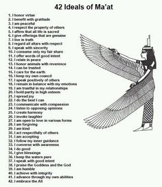 The 42 Ideals of Ma'at of the Temple of Isis #occult
