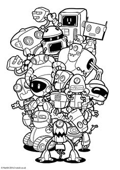 More robot simple tatt OutlineZ. For those nights when the tatt guns out & your getting a freeby if only u had a decent outline that wouldn't take all night! Cute Doodle Art, Doodle Art Drawing, Drawing Sketches, Art Drawings, Graffiti Doodles, Graffiti Drawing, Love Doodles, Kawaii Doodles, Doodle Coloring