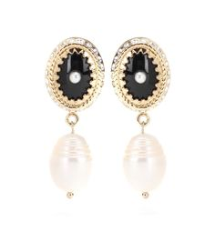 Givenchy - Embellished clip-on earrings - Bring an opulent element to your jewellery edit and your evening looks with these clip-on earrings from Givenchy. A glossy black centre is surrounded by crystal-embellished gold-tone metal and finished with faux pearl drops for a truly glamorous touch. Let them dress up your favourite cocktail dress. seen @ www.mytheresa.com