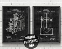 Items similar to Camera Patent Patent Prints, Printable Wall Art, Printer, Printables, Drawings, Unique Jewelry, Handmade Gifts, Cards, Vintage