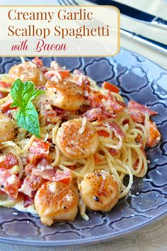 Creamy Garlic Scallop Spaghetti with Bacon - ready in well under 30 minutes, this in one quick & easy meal that's sure to impress. It also easily adapts to serve just two, making it an ideal choice for a romantic dinner or even to make as a quick cooking dish for a small dinner party.