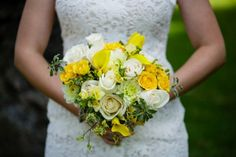 wedding bouquets yellow green and cream - Google Search