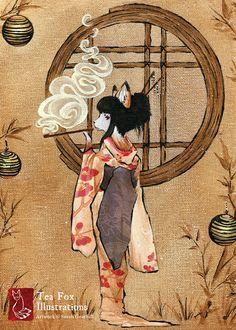 Okina / Kitsune Geisha Fox Girl Fox Art by TeaFoxIllustrations Art And Illustration, Illustrations, Japanese Fox, Japanese Folklore, Japanese Style, Art Magique, Fox Spirit, Art Asiatique, Fox Girl