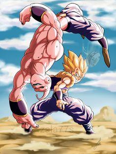 by on DeviantArt Buu Dbz, Goku Y Vegeta, Goku Vs, Son Goku, Dragon Ball Gt, Dragon Ball Image, Anime Couples Manga, Cute Anime Couples, Anime Girls