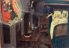 """""""Fasten your seatbelt! Unusually vivid depiction of a couple in bed receiving a baby from the Holy Spirit c). Medieval Paintings, European Paintings, Medieval Life, Medieval Art, Medieval Bedroom, Trinidad, Renaissance Kunst, Medieval Furniture, Early Middle Ages"""