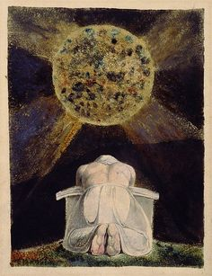 Frontispiece to The Song of Los, by William Blake. The archetype of the Creator is a familiar image in Blake's work. Here, the demiurgic figure Urizen prays before the world he has forged. The Song of Los is the third in a series of illuminated books painted by Blake and his wife, collectively known as the Continental Prophecies.