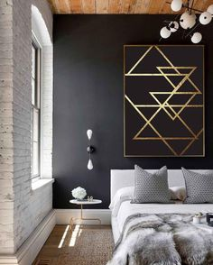 Hello drama! This space has all the trends Its so fun though amiright? Would you like to see it as our next room redo vote now! Source unknown. #vote #roomredo #bedroom #master #masterbedroom #bedroomupdate #bedroomdesign #CopyCatChic