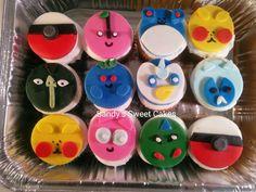 Pokemon fondant cupcake toppers Www.Facebook.com/sandyssweetcakes