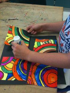 Grade Circle Spin and Frank Stella. Franz Kline, Art Journal Pages, Frank Stella Art, 2nd Grade Art, Grade 3, Second Grade, Spring Art Projects, Ecole Art, Exhibition