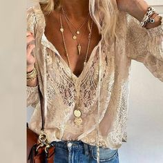Summer Women Blouses Elegant V Neck Bottoming Long-sleeved Pink Shirt Lace Hook Flower Hollow Casual Shirts Blouse Plus Size 3XL Floral Print Shirt, Clothing Patterns, Sleeve Styles, Shirt Blouses, Blouses For Women, Casual Shirts, Long Sleeve Shirts, Lace, Sleeves