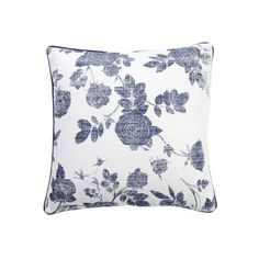 Flora Illustration Blue Mood Collection Cushion - Casafina