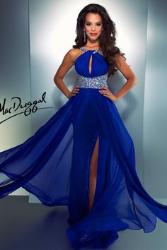 Electric Blue Prom Dress with Halter Top and Keyhole Front