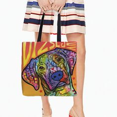 White Canvans Tote Bags Cute Puppy Dog Printed Color Ink Style Art Double Sides Printing Handle Bag Beautiful Color