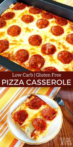 A delicious keto low carb pizza casserole that will be enjoyed by all. And, the easy to make gluten free crust is made with every day ingredients. | LowCarbYum.com