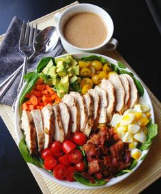 A recipe for celery seed salad dressing and paleo friendly cobb salad.