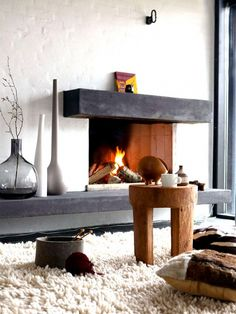 Black and White Modern Stone Fireplace                                                                                                                                                                                 More
