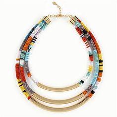 Noir Sobat Triple Strand Beaded Necklace.  Love.