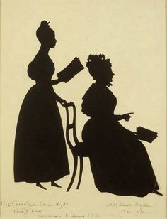 Auguste Amant Constant Fidèle Edouart (1789-1861) — Silhouette of Two Women Facing Right (459x600)